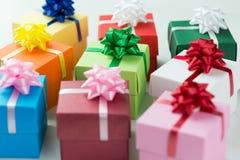 Various colour gift boxes Royalty Free Stock Photos