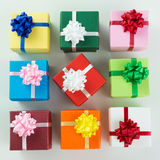 Various colour gift boxes Royalty Free Stock Images