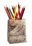 Various colour pencils. In ceramics pencil holder Royalty Free Stock Image