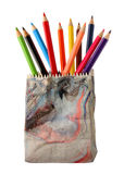 Various colour pencils. In ceramics pencil holder Royalty Free Stock Images