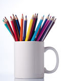 Various colour pencils in cup. Royalty Free Stock Photo