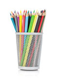 Various colour pencils in holder Royalty Free Stock Photography