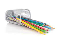 Various colour pencils in holder Royalty Free Stock Photo