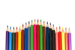 Various colour pencils isolated. On the white Royalty Free Stock Photo