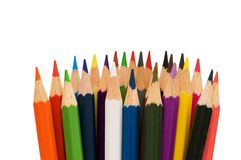 Various colour pencils isolated. On the white Royalty Free Stock Photography