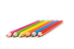 Various colour pencils isolated on the white Royalty Free Stock Photos