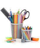 Various colour pencils and office tools Stock Photos