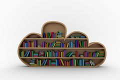 Various colourful books arranged on wooden shelves. Against white background Royalty Free Stock Photo