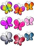 Various Colourful Butterflies Clip Art. A clip art illustration featuring colourful butterfly borders or dividers Stock Photography