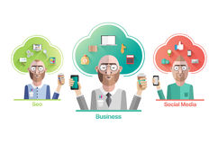 Various company positions vector with cloud and text Royalty Free Stock Photo