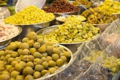 Various compote fruit, Thai dessert in market. Stock Photo