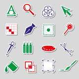Various computer graphics color stickers set Royalty Free Stock Photography