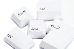 Various computer keys. Various command keys isolated from keyboard on white Stock Photography
