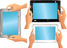 Various computer tablets and hands Royalty Free Stock Photos