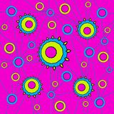 Various concentric circles pattern lemon lime green and light blue on magenta connected with blue lines. Abstract geometric background. Various concentric Stock Photography