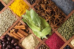 Various condiments  with showcases of  Indian market. Colorful s Stock Images