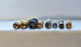 Various connectors for transmitting RF signals. Stock Photo