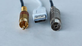 Various connectors for transmitting  signals. Royalty Free Stock Images