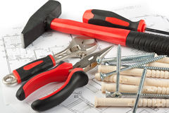 Various construction tools Stock Image