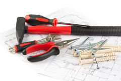 Various construction tools Royalty Free Stock Photo