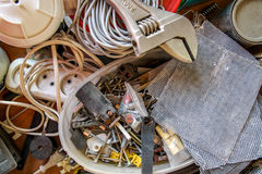 Various construction tools in disarray Stock Photography