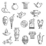 Various containers and kitchenware sketches. Containers and kitchenware icons in sketch style with ancient torch, stone fire bowls, amphora, copper and ceramic Royalty Free Stock Photos
