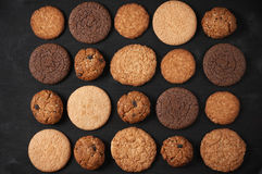 Various cookies on black Stock Images