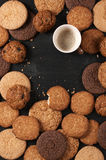 Various cookies and coffee Royalty Free Stock Images