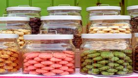 Various Cookies in Glass Jars Stock Photography