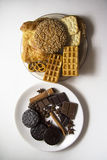 Various cookies 29. Plate of various cookies with waffers, copy space for text stock photo