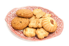 Various of cookies on a plate on white. Various of cookies on a plate closeup on white Stock Photography