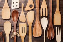 Various cooking utensils. Over wooden kitchen table. Top view Stock Photo