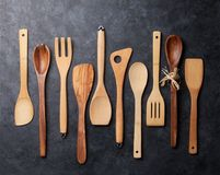 Various cooking utensils. Over stone kitchen table. Top view Stock Images