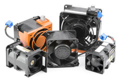 Various Cooling Fans. Used in servers, isolated on pure white background Royalty Free Stock Images