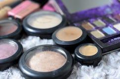 Various cosmetic powder set. Various colorful cosmetic powder set royalty free stock photo