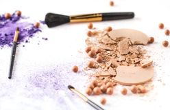 Various Cosmetic Powder With Brushes Stock Images