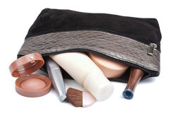 Various Cosmetics In Bag Isolated Royalty Free Stock Images