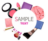 Various cosmetics .isolated over white. Royalty Free Stock Photos