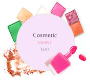 Various cosmetics isolated over white. Royalty Free Stock Photos