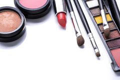 Various cosmetics isolated over white Stock Image