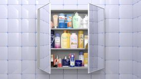 Various cosmetics and personal care. Products in bathroom cabinet Royalty Free Stock Photos