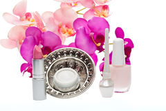Various cosmetics products on white background Stock Image