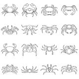 Various crab icons set, outline style. Various crab icons set. Outline illustration of 16 various crab vector icons for web Stock Illustration