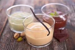 Various cream dessert Stock Images