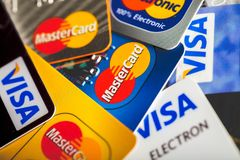 Various credit cards for business background. Business cards credit background solid design financial royalty free stock photo