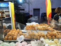 Various croquettes and fried typical of Sicily. Seller of various croquettes and fried typical of Sicily in a street market in the town of Foligno. Umbria region stock photos