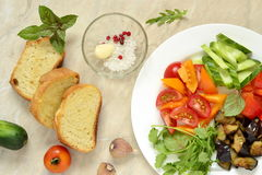 Various crostini with vegetables and herbs Royalty Free Stock Photo