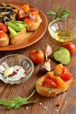 Various crostini with vegetables and herbs Royalty Free Stock Image