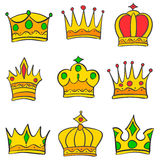 Various crown style of doodle set collection Royalty Free Stock Photos