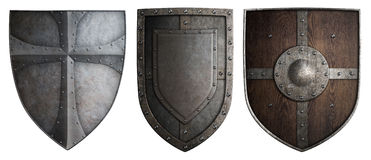 Various crusaders knights shields set isolated 3d illustration Stock Image